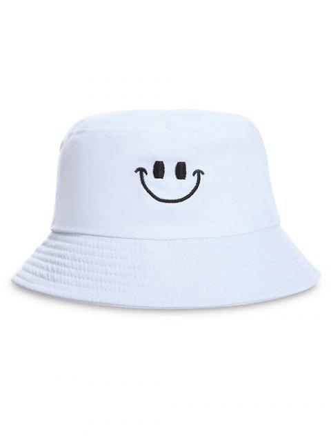 Smile Face Embroidery Bucket Hat - WHITE