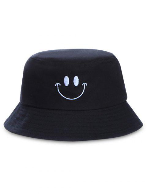Smile Face Embroidery Bucket Hat - BLACK