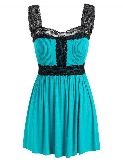Plus Size Lace Panel Empire Waist Tank Top - TURQUOISE 5X