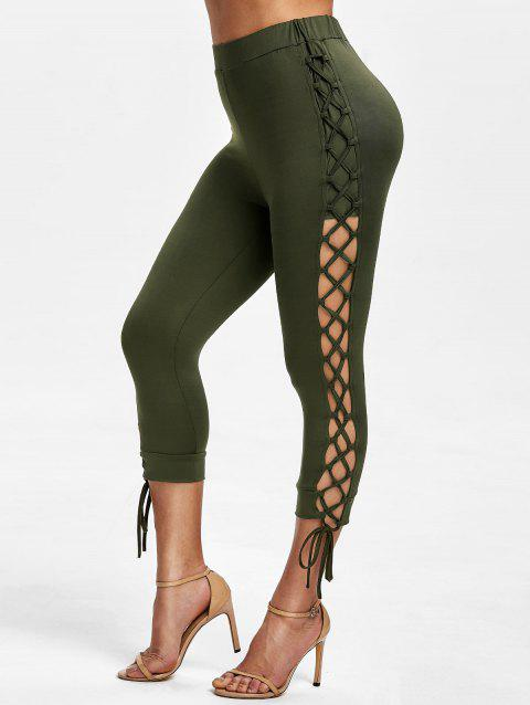 High Waisted Lace Up Capri Pants - ARMY GREEN 2XL