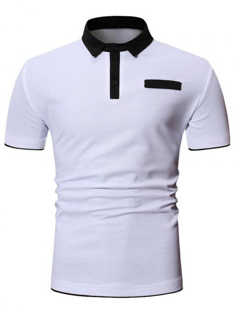 Solid Color Design Short Sleeves T-shirt - WHITE 2XL