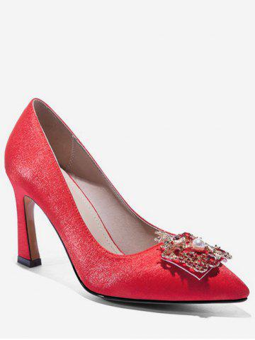 6be91a96570c Dragon Phoenix Buckle Satin Pumps