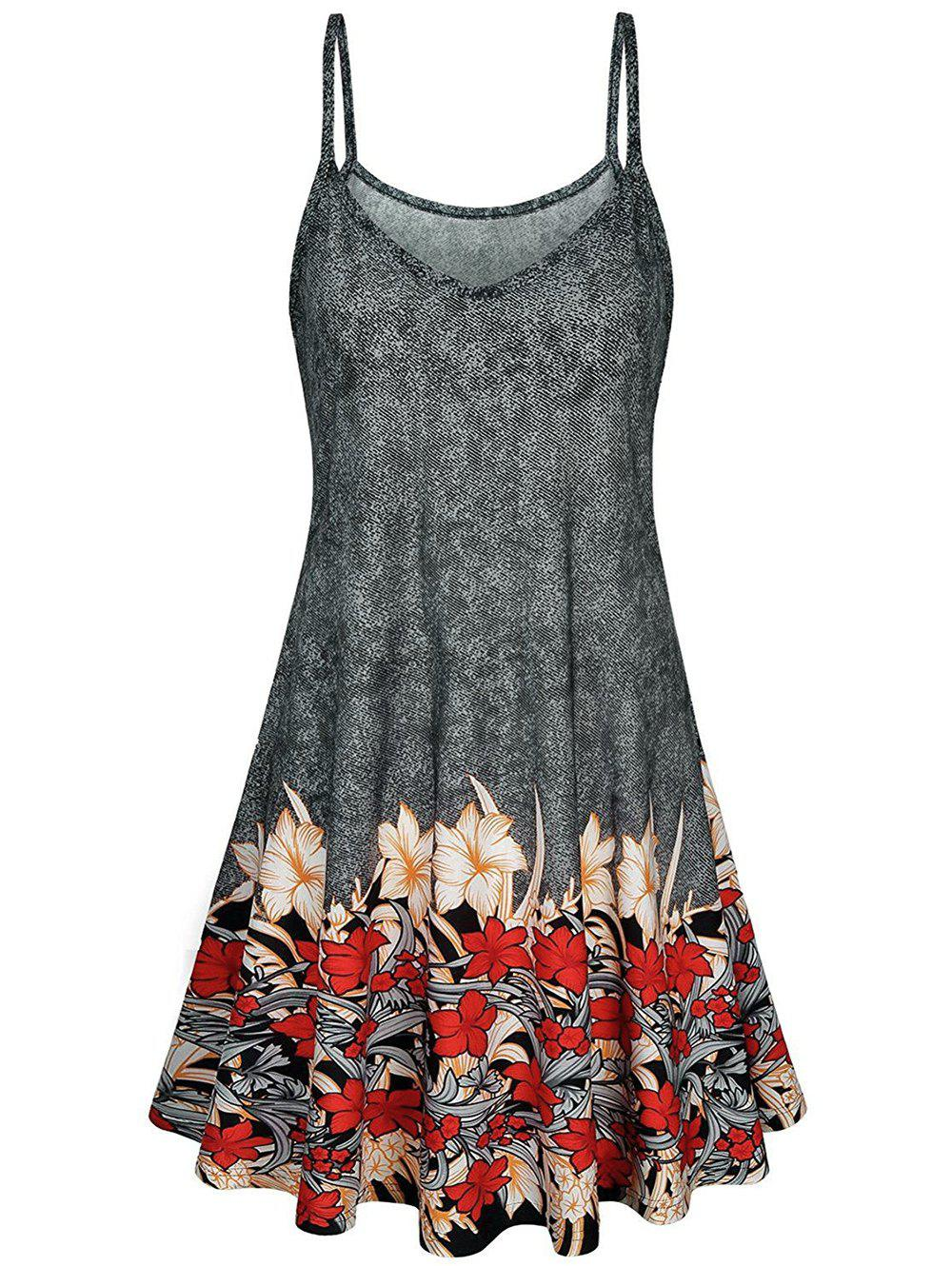 Floral Print Cami A Line Dress - multicolor 2XL