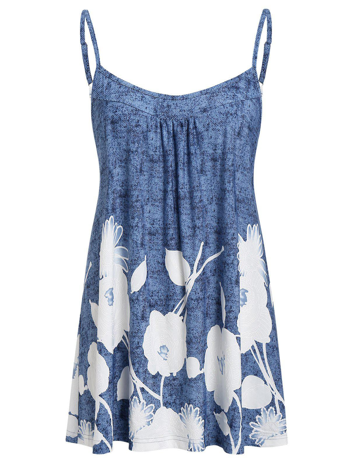 Plus Size Printed Flare Cami Tank Top - BLUE KOI 1X