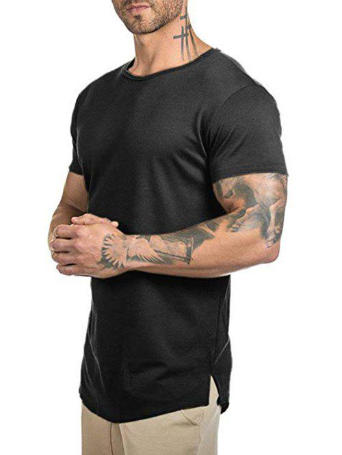Solid Color Curved Longline T Shirt - BLACK M