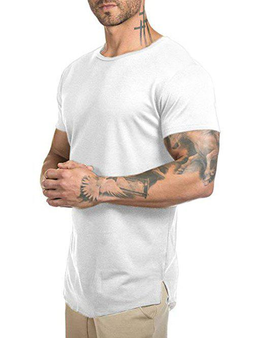 T-shirt Long Courbé en Couleur Unie - Blanc L