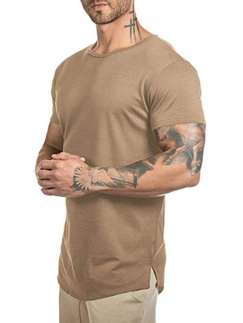 Solid Color Curved Longline T Shirt - DARK KHAKI M