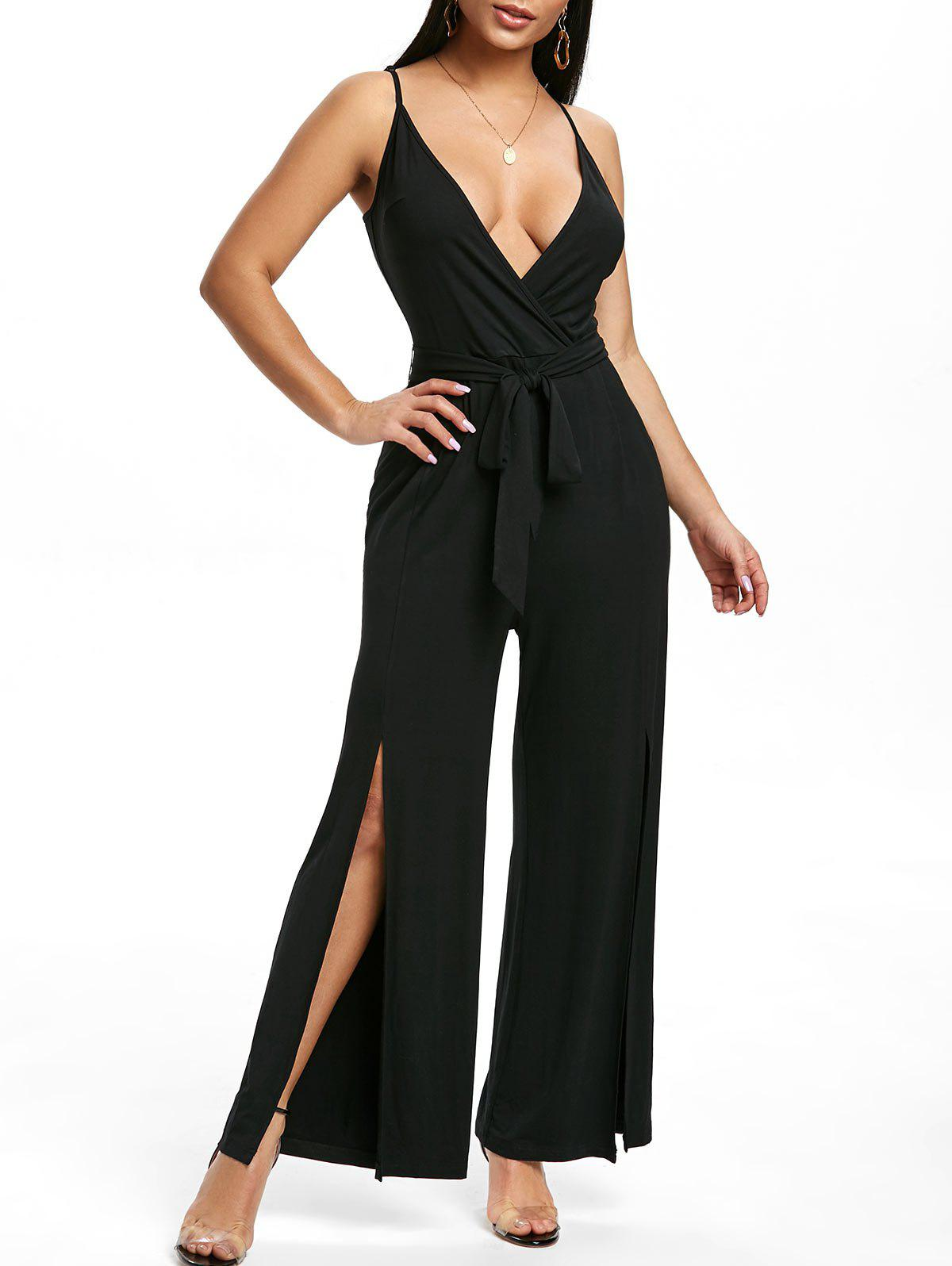 Cami Split Palazzo Wide Leg Jumpsuit - BLACK 2XL