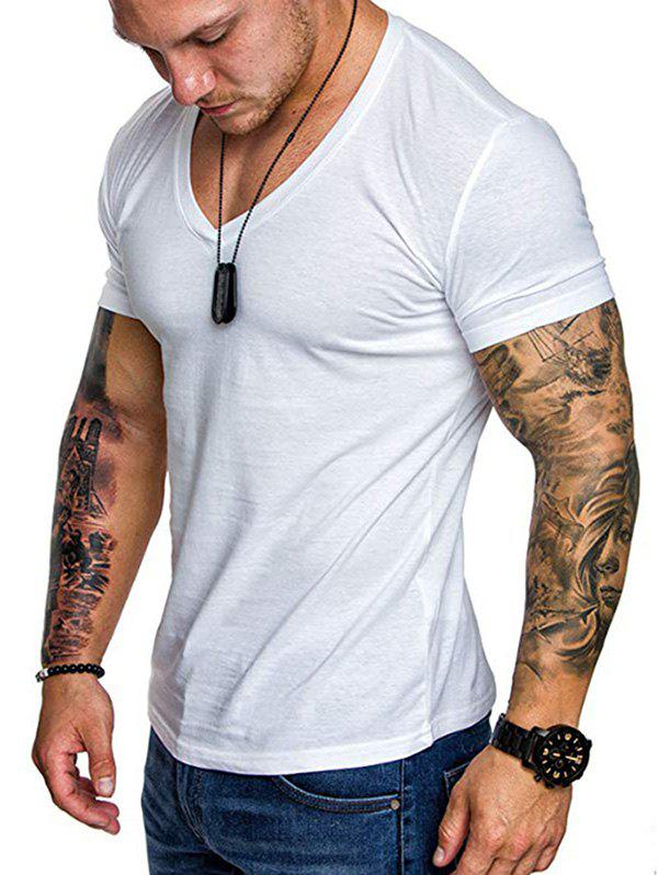 V Neck Solid Color T Shirt - WHITE 3XL