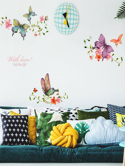 Butterflies and Flowers Print Wall Art Stickers - multicolor