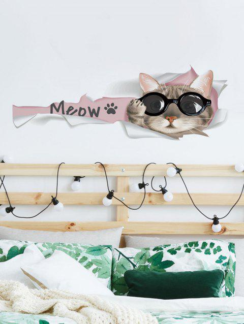 Cat In Glasses Print Wall Art Stickers - multicolor