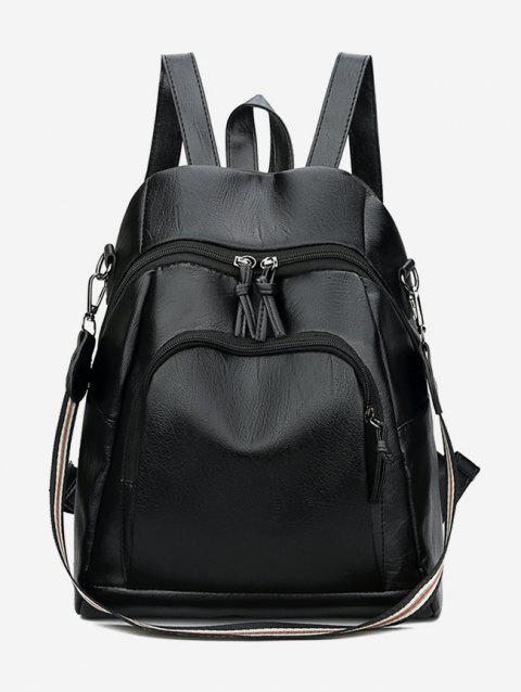 Solid Zipper Design Backpack - BLACK