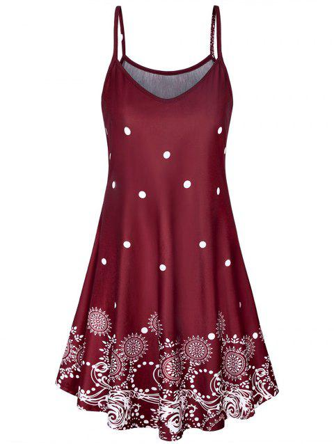 Dotted Printed Spaghetti Strap Flare Dress - RED WINE M