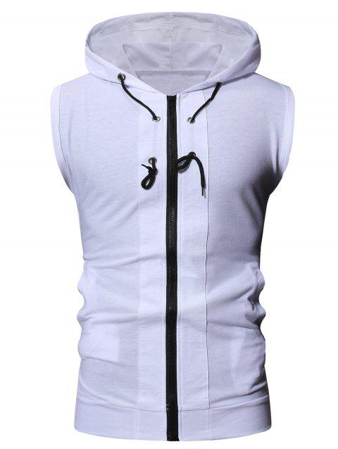 Solid Color Drawstring Hooded Tank Top - WHITE 2XL