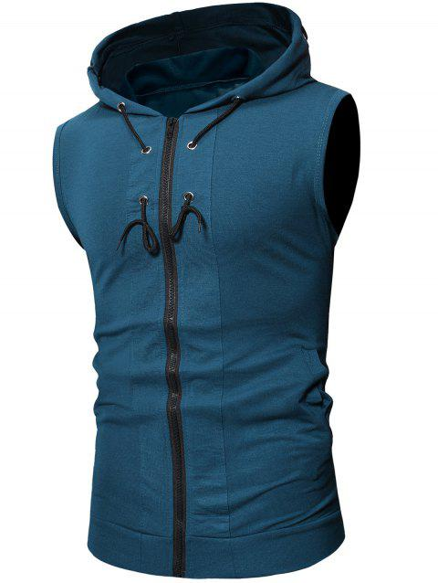 Solid Color Drawstring Hooded Tank Top - PEACOCK BLUE L