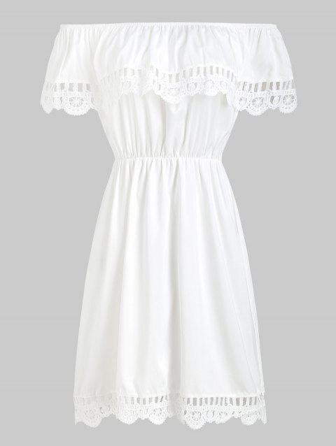 Lace Insert Flounce Skater Dress - WHITE M