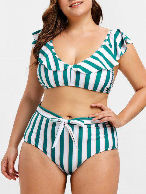Plus Size Striped Ruffled Front Tie Bikini Set - multicolor A L