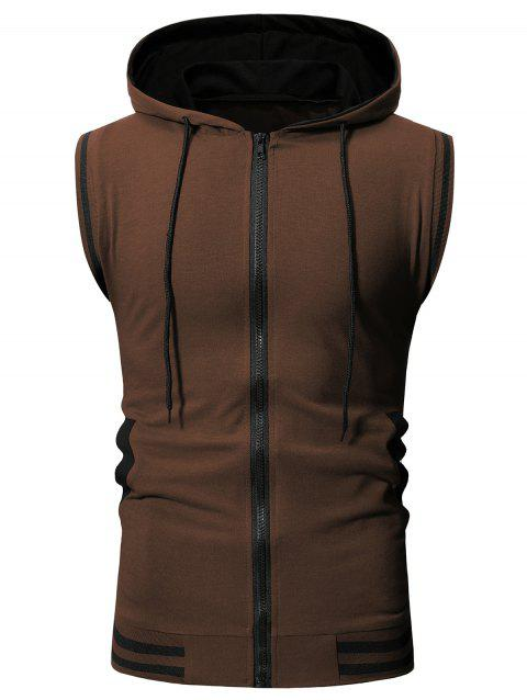 Striped Print Drawstring Hooded Tank Top - COFFEE M