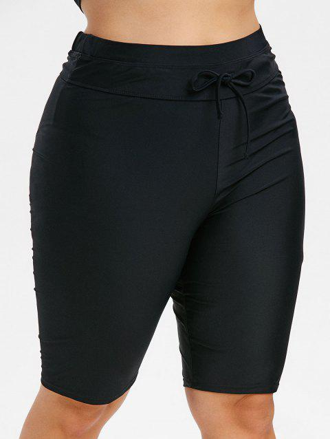 Plus Size Knee Length Drawstring Swim Pants - BLACK 3X
