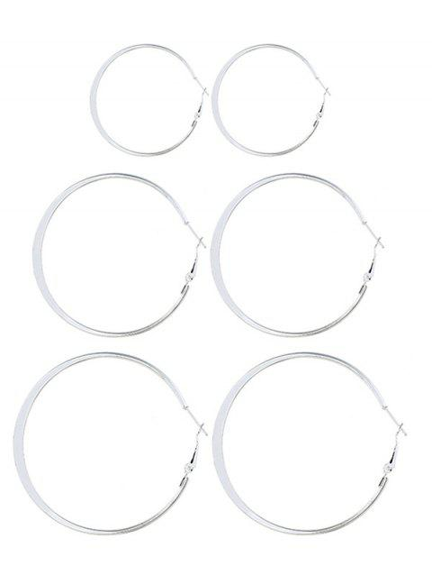 3Pairs Alloy Hoop Earrings Set