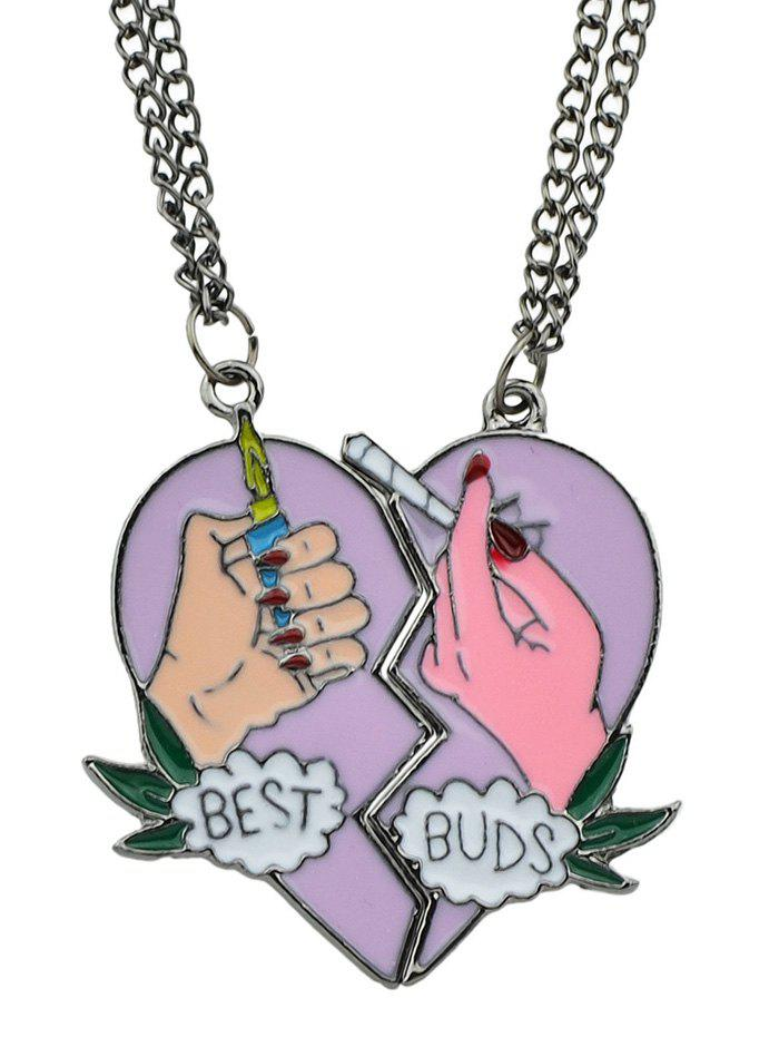 2Pcs Heart Friendship Necklace Set - multicolor