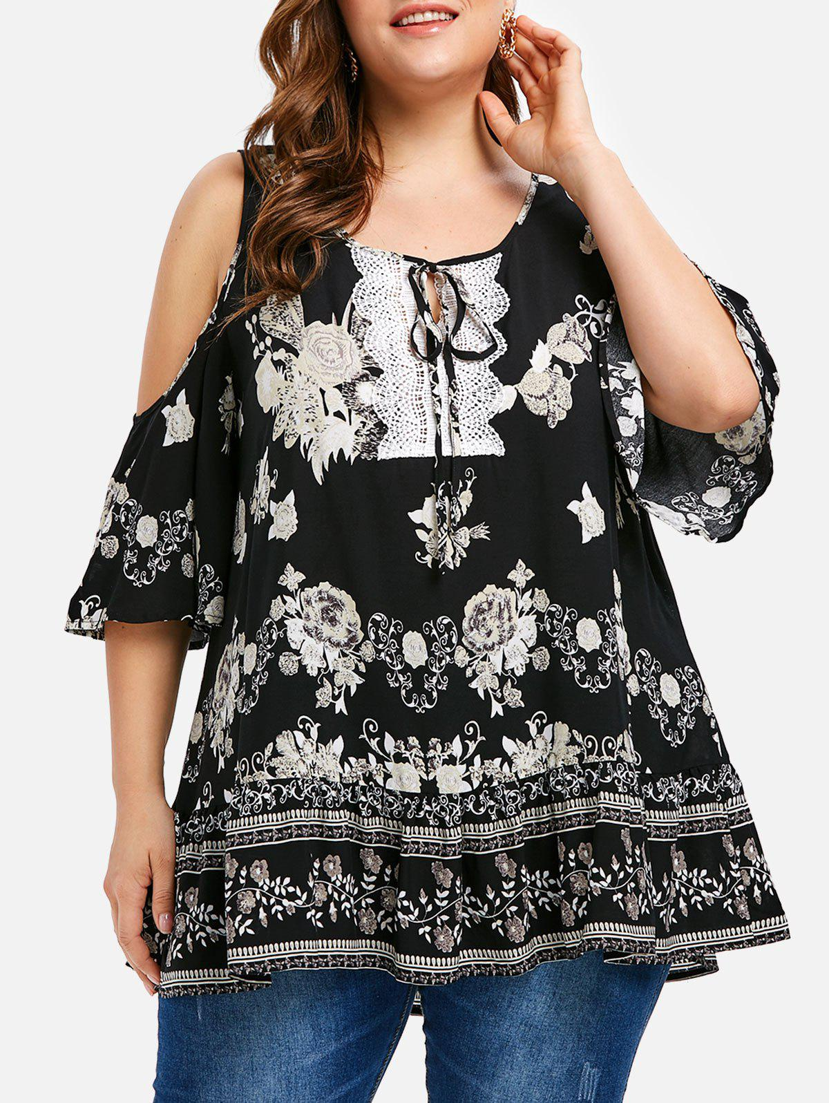Floral Crochet Panel Plus Size Tunic Top - BLACK 3X