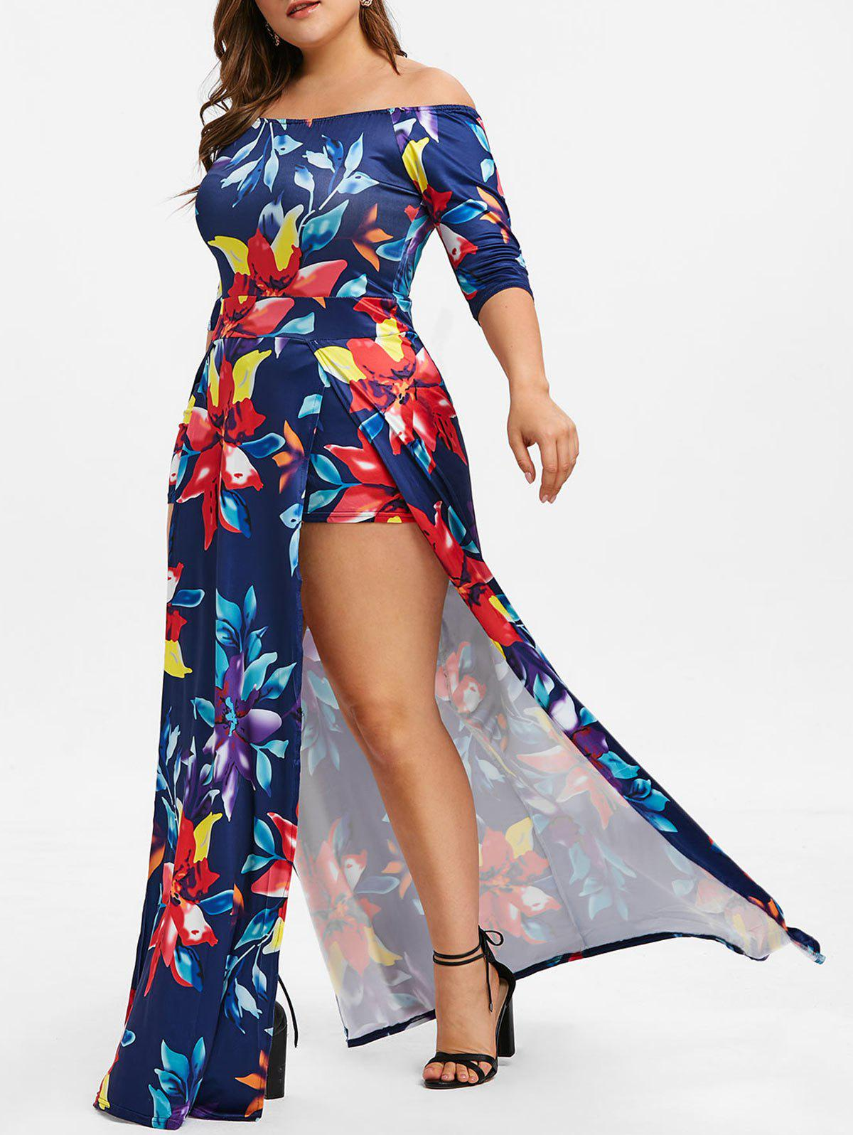 Plus Size Off The Shoulder Floral Print Maxi Romper Dress - DEEP BLUE L
