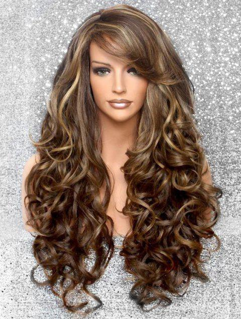 Side Bang Body Curly Long Synthetic Wig - multicolor