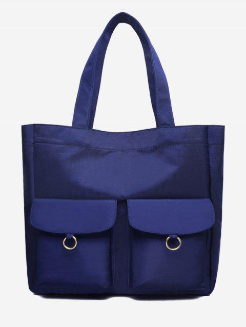 Nylon Pockets Design Shoulder Bucket Bag - BLUE