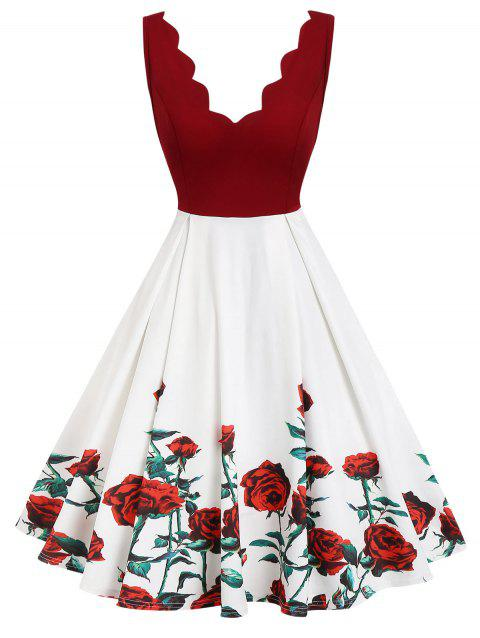 Scalloped Floral A Line Backless Dress - WHITE M