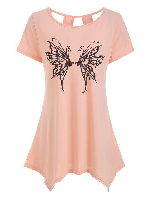 Cut Out Butterfly Graphic Asymmetric Tee - ORANGE PINK M