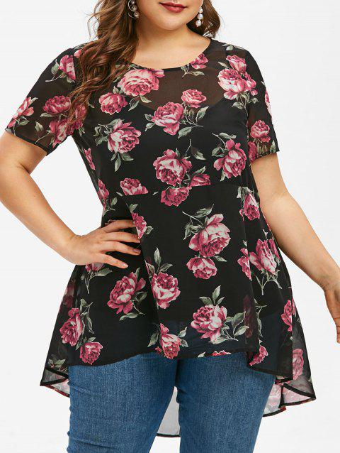 Plus Size Floral High Low Top and Cami Top Set - BLACK 5X