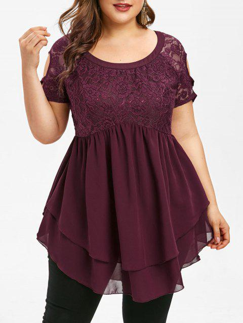 Plus Size Round Neck Lace Skirted Blouse - RED WINE 1X