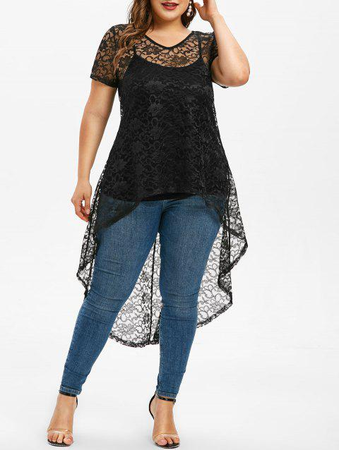 Plus Size Lace See Thru T Shirt With Camisole - BLACK 3X
