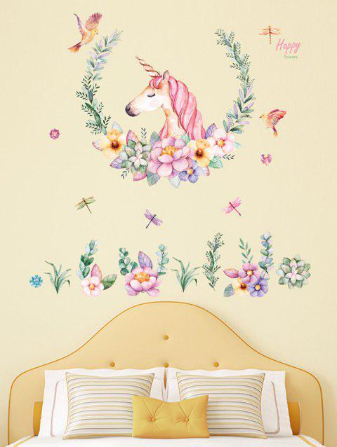 Unicorn Flowers Print Wall Art Stickers - multicolor 60*90CM