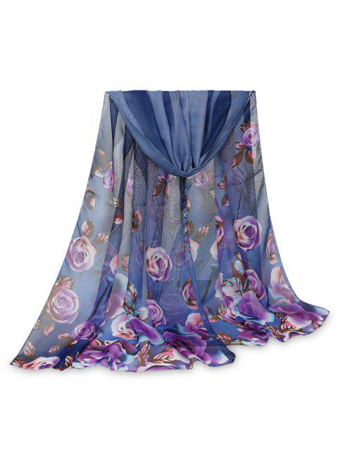 Printed Rose Feather Long Scarf - DEEP BLUE