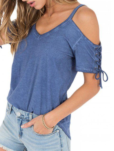 Lace Up V Neck Cold Shoulder Tee - BLUE XL