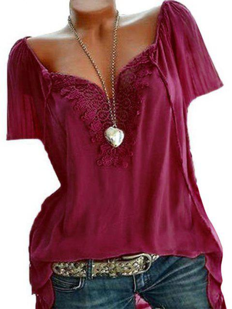 Lace Insert Plus Size Top - RED WINE 1X