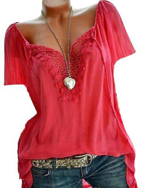 Top Lace Insert Taille Plus - Rouge 1X