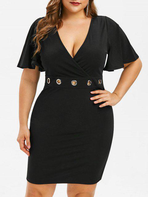 Plus Size Bodycon Sheer Lace Insert Dress - BLACK 2X