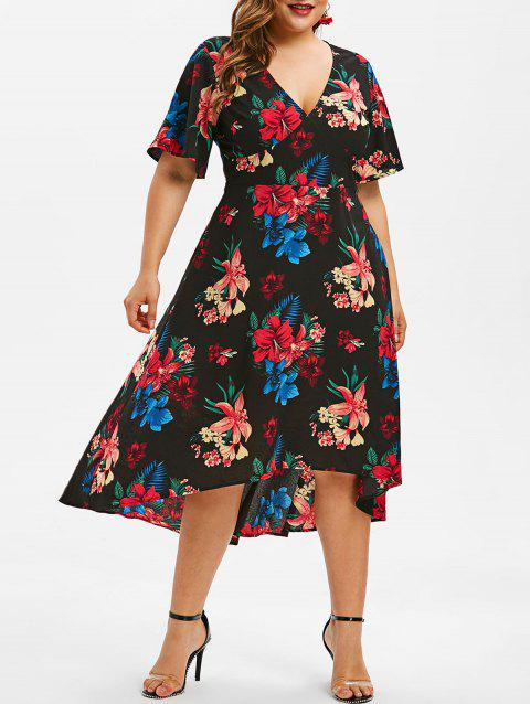 Plus Size High Low Printed Surplice Dress - BLACK 2X