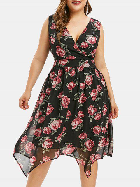 Plus Size Floral Print Overlay Flare Dress - BLACK 2X