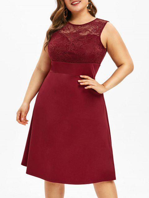 Plus Size Lace Insert Midi Flare Dress - RED WINE 5X