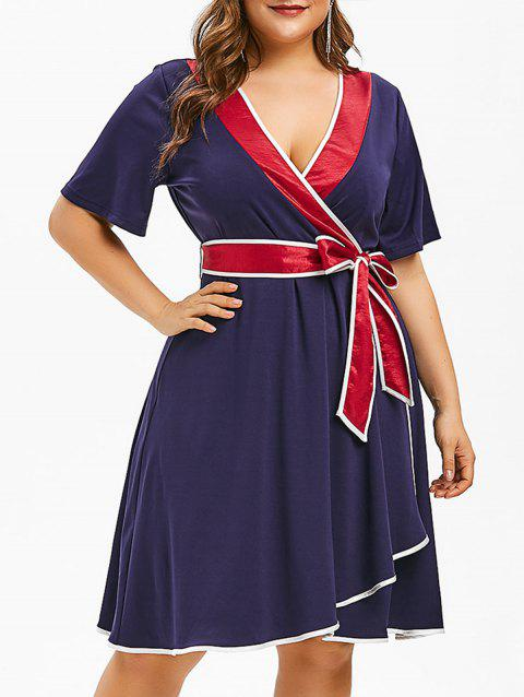 Plus Size Contrast Trim Bowknot Dress - MIDNIGHT BLUE 5X