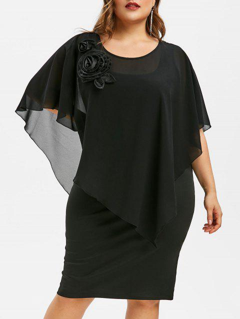Plus Size Solid Butterfly Sleeve Dress - BLACK 5X