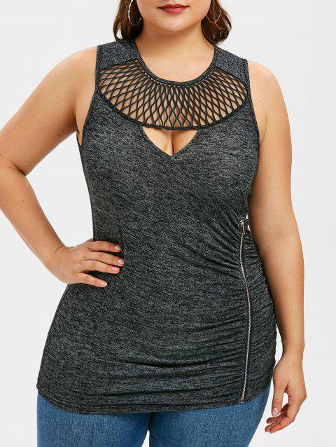 Plus Size Cut Out Ruched Zipper Tank Top - GRAY 4X