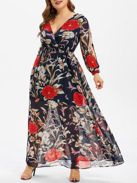 Plus Size Floral Print Overlay Maxi Dress - MIDNIGHT BLUE 1X
