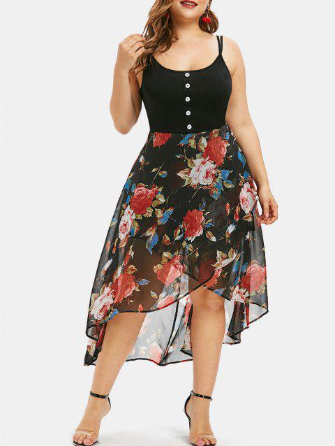 Plus Size Floral Overlay High Low Dress - BLACK M