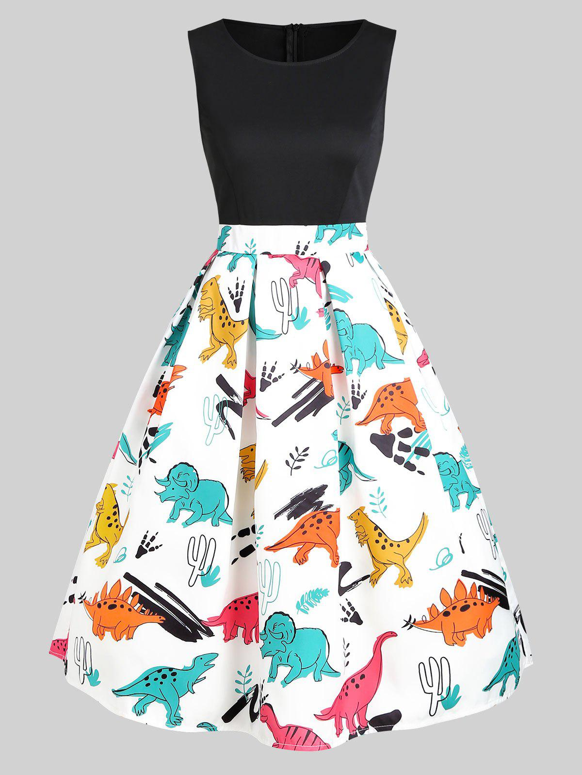 Round Neck Dinosaur Print Flare Dress - multicolor M