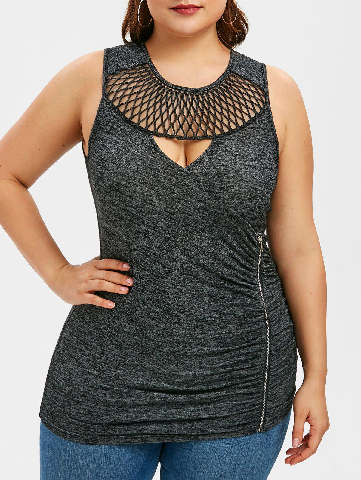 Plus Size Cut Out Ruched Zipper Tank Top - GRAY 1X